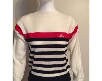 Vintage Jordache Pullover Red White Blue Striped Sweater