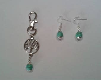 Earrings tree of life with turquoise bead bag charm.