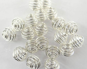 20 9 mm pca001 silver metal bead cages