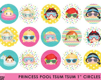 "50% SALE PRINCESS tsum tsum Bottle Cap, Princess tsum tsum, pool party, Image Party, Circles Birthday Party, 1"" circule,  Printable"