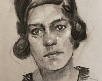 Charcoal Mugshot Drawing - Lola