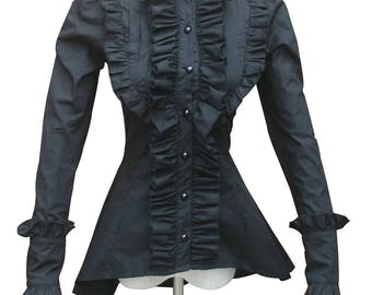 Ladies Victorian Vintage Gothic Punk Black Ruffle Steampunk Cotton Blouse Shirt Ghost Witch Halloween Costume