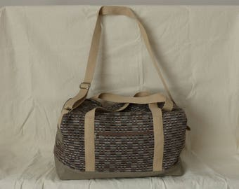 weekend hobby, fabric and faux Tan Leather Bag