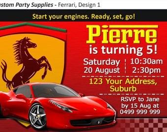 Ferrari Racing Car Birthday Party Invitation Invite Personalised  Personalized Card Racecar