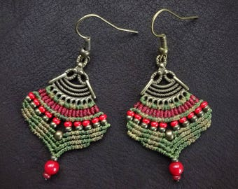 micro macrame earrings, handcrafted earrings ,gipsy boho style, czech seed beads, coral beads