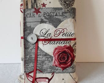 "Book adaptable large fabric ""rose red fashion starlet"" grey thick cotton lining."