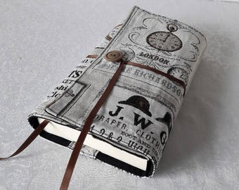 "Book adaptable large fabric ""London, thick black cotton lining."