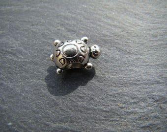 1 turtle spacer bead 15 x 10 mm Tibetan silver