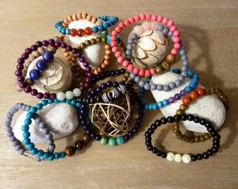 Mineral bracelets wood gemstones