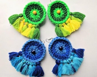 Green Blue Tassel Crochet Earrings Large Tassel Handmade Statement Jewelry Boho Round Cotton Earrings Beaded Yarn Dream catcher Colorful