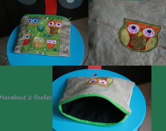 bag child owls beige and green