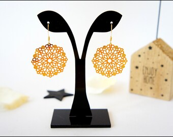 Gold plated, rose gold plated filigree earrings