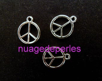3 small charms peace and love charm