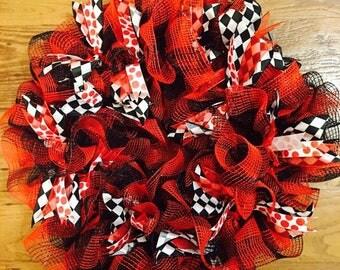 Harley Quinn Custom Wreath - Deco Mesh with Colored Ribbon