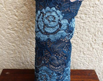 fingerless gloves arm warmers blue ceremony lace