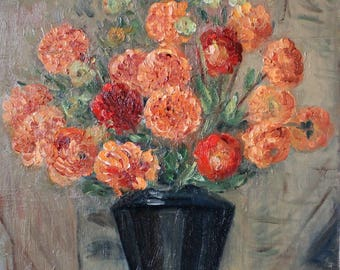 SUZANNE ROCHE (1901-1972) Original Oil Painting Still life Flowers in vase, Flowers Oil Painting, dated 1946