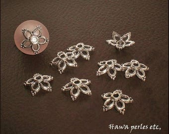 """10 cups Ice Caps """"Flower"""" 13 x 13 mm antique silver Metal"""