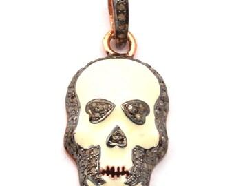 Skull Pendant, Pave Diamond Pendant, Diamond Pendant, 925 Sterling Silver Pendant,Enamel Work Pendant