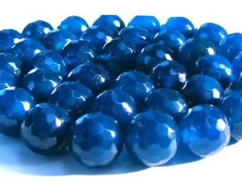 6 agates à facette de 10 mm perles pierre bleu.