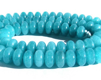 10 jades Abacus de 8x5 mm perles pierre rondelle bleu ciel.