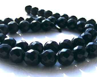 8 onyx à facettes de 8 mm perles pierre noire.