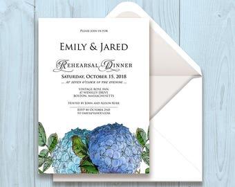 Hydrangea Rehearsal Dinner Invitation Rustic Wedding Printable Rehearsal Invite Spring Outdoor Floral Wedding Blue Hydrangea Invite Template