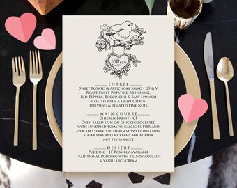 Valentines Day Menu Rustic Wedding Printable Menu Card Template Rehearsal Dinner Birthday Menu Black & White Bird Flowers Heart Digital Menu