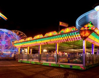 Carnival Photography, Carnival photo, Amusement Park, State fair, Fine art, Hammerhead, Night Photo, Printable art, Digital download