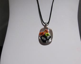 Halloween jewelry, Halloween fused glass necklace, Fused glass necklace