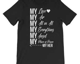 My Her Men's short sleeve t-shirt, men's t-shirt, relationship tee shirt, relationship t-shirt, gift for him, lovers t-shirt