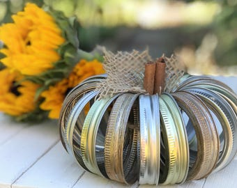 Mason Jar lid pumpkin, fall decor, rustic gold, silver, turquoise, autumn thanksgiving centerpiece table decor, fall jars,autumn table set