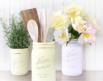 Painted mason jars for kitchen utensils, herb planter. You choose colors!  Kitchen decor, cottage flowers, shabby chic, spoon holder.