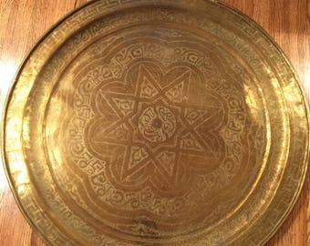 Extra Large Brass Etched Tray