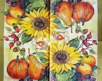 TOWEL in autumn Fruits paper and sunflower #AL039