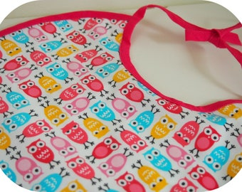 """Large bib made with laminated cotton fabric lined bias """"owls"""""""
