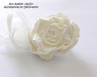 "Idea wedding Barrette ""White Rose"" in soft clay dough"
