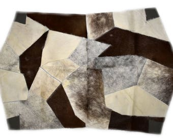 "Modern Humanely Sourced Octagonal Cowhide Patchwork Accent Rug, Hair-On Genuine Bovine Leather, Hand Tanned, Premium Quality, 3'7"" x 5'9"""