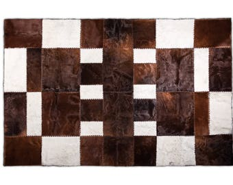 "Large Fine Hand-Crafted Ethically Sourced Rectangle Cowhide Patchwork Area Rug, Hair-On Genuine Leather, Premium Quality, 6'6"" x 9'10"""