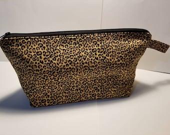 Cheetah Make Up bag, cosmetic pouch, Travel bag, Toiletry bag