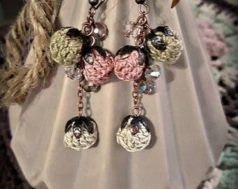 Dangle Floral Earings Dusty Rose Earrings Boho Chic Earrings Crochet Long Pompon Earrings Valentine's Day Gift for Sister Birthday Present