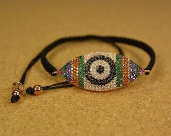 Handmade colorfull silver women bracelet