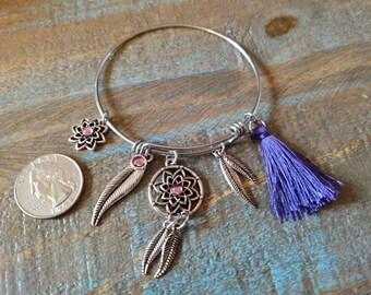 Purple Dream Catcher Charm Bracelet