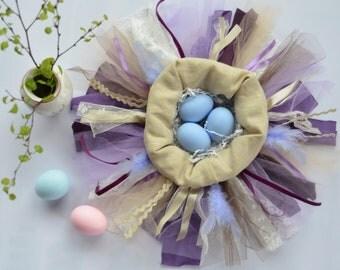 Purple and beige Easter egg basket - Egg nest - Easter decorations - Nest like basket for Easter eggs - textile basket for Easter eggs