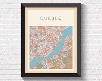 Quebec Map, Map of Quebec, Quebec Street Map, Quebec City Map, Quebec Road Map, Quebec Art, Quebec Print, Quebec Poster, Quebec, Canada