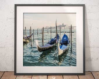 Venice print, gondolas, Grand Canal, decoration, digital download, printable poster, gondolas in Venice, modern art, large printable poster