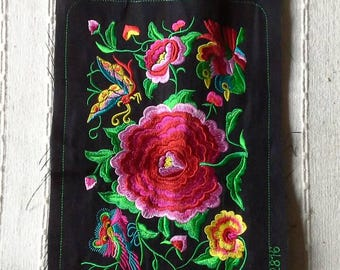 Pink Rose Hand Embroidered Hmong Fabric, Hmong Hill Tribe Embroidered, Thai Hill Tribe, Hmong Textile, Hill Tribe Handmade.