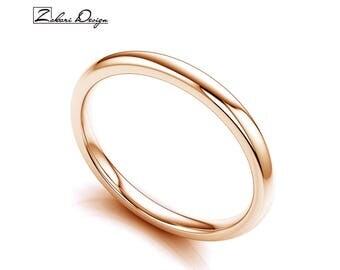 Solid 14K Rose Gold 2mm Wedding Band Polished Domed Anniversary Or