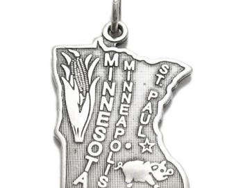 """Brand New Sterling Silver """"State Of Minnesota"""" Charm or Pendant"""