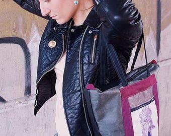 Handbag, Tote, with textile printing type