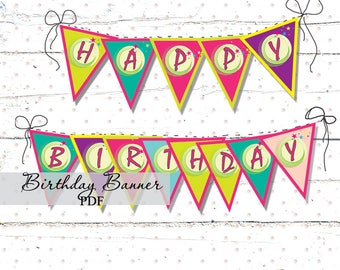 Happy Birthday Banner Magic Birthday Party Digital file for print Banner decor Banner for a girl Party decor garland Decorative element